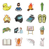 Finance, illness, rest and other web icon in cartoon style. cat, animal, camping icons in set collection. Royalty Free Stock Images
