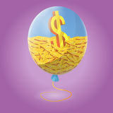Finance Inside Blue Air Balloon. Vector Royalty Free Stock Images