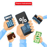 Finance Instruments Calculator Smartphone Money. Business and dollar, economic banking, investment and wealth, credit card and calculator, wallet and Stock Photography
