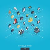 Finance integrated 3d web icons. Digital network isometric concept. Finance integrated 3d web icons. Digital network isometric interact concept. Connected Royalty Free Stock Image