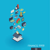 Finance integrated 3d web icons. Growth and progress concept Stock Images