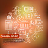 Finance and investing outline icons set over Royalty Free Stock Image