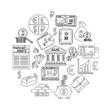 Finance and investing outline icons set. Vector illustration Royalty Free Stock Photo
