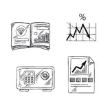 Finance, investment and banking sketch icons. With financial bar graph, line chart of bank interest rate, precious metals market trends and safe with digital Stock Image