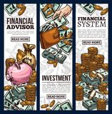 Finance and investment business banner with money. Finance and investment banner set of money sketch. Cash currency of dollar bill and gold coin pile with money Royalty Free Stock Photo