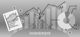 Finance Investment Concept Banner. Graph or chart the growth of financial investment. Business Pie Chart increase in profits money. Metaphor sprout grew on a Royalty Free Stock Photos