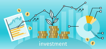 Finance Investment Concept Banner. Graph or chart the growth of financial investment. Business Pie Chart increase in profits money. Metaphor sprout grew on a Stock Photo