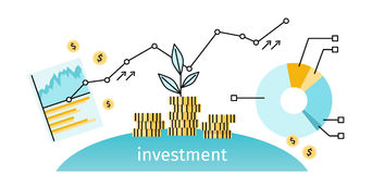 Finance Investment Concept Banner. Graph or chart the growth of financial investment. Business Pie Chart increase in profits money. Metaphor sprout grew on a Stock Photos
