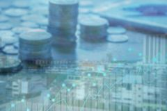 Finance and Investment concept. Money management and Financial chart.blur focus Royalty Free Stock Photography