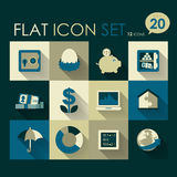 Finance & investment icon set. Vector flat design Stock Images