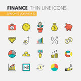 Finance Investment Linear Thin Icons Set with Money Tree and Financial Elements. Finance Investment Linear Thin Vector Icons Set with Money Tree and Financial Royalty Free Stock Photos