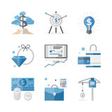 Finance and investment money flat icons set. Flat icons set of financial investment for development business project, economic analysis of finance growth. Flat Stock Photo