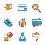 Finance and investment money line icons set Royalty Free Stock Photos