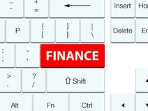 Finance red keyboard button. Finance isolated on red keyboard button abstract illustration Royalty Free Stock Photos