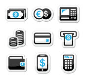 Money, atm - cash mashine  icons set. Finance labels - atm, coins, bank notes, credit card isolated on white Stock Images