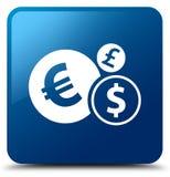 Finance le bouton carré bleu d'icône Photo stock