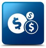 Finance le bouton carré bleu d'icône de symbole dollar Images stock