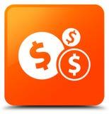 Finance le bouton carré orange d'icône de symbole dollar Photos libres de droits