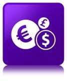 Finance le bouton carré pourpre d'icône Photos libres de droits