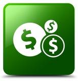 Finance le bouton de place de vert d'icône de symbole dollar Photographie stock