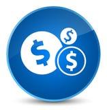 Finance le bouton rond bleu élégant d'icône de symbole dollar Image libre de droits