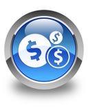Finance le bouton rond bleu brillant d'icône de symbole dollar Photos libres de droits