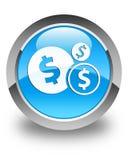 Finance le bouton rond bleu cyan brillant d'icône de symbole dollar Photos libres de droits