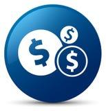 Finance le bouton rond bleu d'icône de symbole dollar Photographie stock