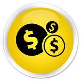 Finance le bouton rond jaune de la meilleure qualité d'icône de symbole dollar Images stock