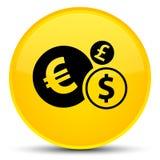 Finance le bouton rond jaune spécial d'icône Images stock