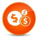 Finance le bouton rond orange élégant d'icône de symbole dollar Photographie stock