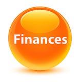 Finance le bouton rond orange vitreux Photos stock