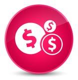 Finance le bouton rond rose élégant d'icône de symbole dollar Image libre de droits