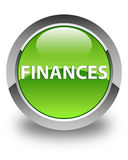Finance le bouton rond vert brillant Photographie stock