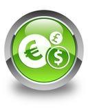 Finance le bouton rond vert brillant d'icône Photo stock