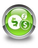 Finance le bouton rond vert brillant d'icône de symbole dollar Images stock