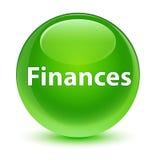 Finance le bouton rond vert vitreux Photo stock