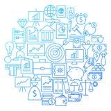 Finance Line Icon Circle Design Stock Photo