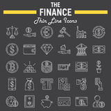 Finance line icon set, business symbols collection Stock Photo
