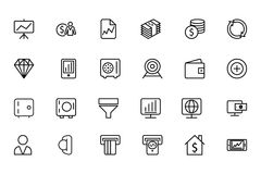 Finance Line Icons 3. Here is a useful and trendy Finance icon pack. Hope you can find a great use for them in finance, money, banking, and statistics visuals Stock Photography