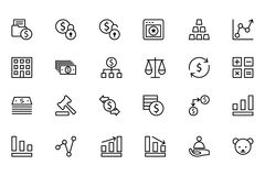 Finance Line Icons 2. Here is a useful and trendy Finance icon pack. Hope you can find a great use for them in finance, money, banking, and statistics visuals Stock Photography