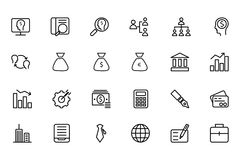 Finance Line Icons 1. Here is a useful and trendy Finance icon pack. Hope you can find a great use for them in finance, money, banking, and statistics visuals Royalty Free Stock Photo