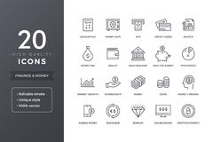 Finance Line Icons. Money and bank icon set with editable stroke Stock Photos