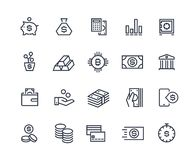 Finance line icons. Money business account, currency management finance audition money calculating. Business investment