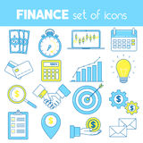 Finance line icons. With money, time, calendar, calculator and other financial symbols Stock Photos