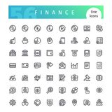 Finance Line Icons Set. Set of 56 finance line icons suitable for web, infographics and apps. Isolated on white background. Clipping paths included Royalty Free Stock Photo