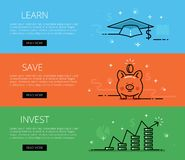 Finance line vector web banners set Stock Images