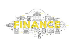 Finance Linear Design. With yellow title and monochrome icons of banking operations and customer service vector illustration Royalty Free Stock Photography