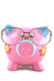 Finance Manager. Piggy bank wearing glasses isolated over white Stock Images