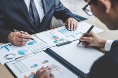 Finance manager meeting discussing company growth project success financial statistics, professional investor working start up pr. Oject for strategy plan with royalty free stock photo